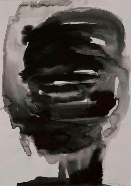 Kopf I, 2017, 42x30 cm, Tusche auf Papier