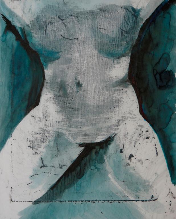 weiblicher Akt II, 2018, 63x50cm, Tusche/Siebdruck auf Papier