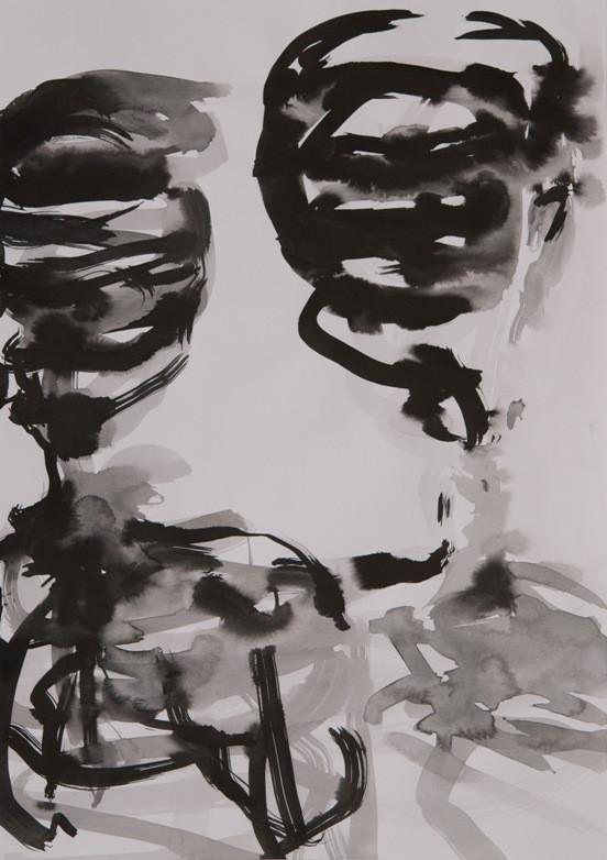 o.T., 2019, 42x30cm, Tusche auf weißem Papier