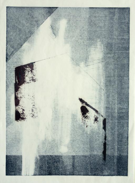 fragile Architektur, 2017/2021, 27,2x19,8cm, Monotypie/Öl