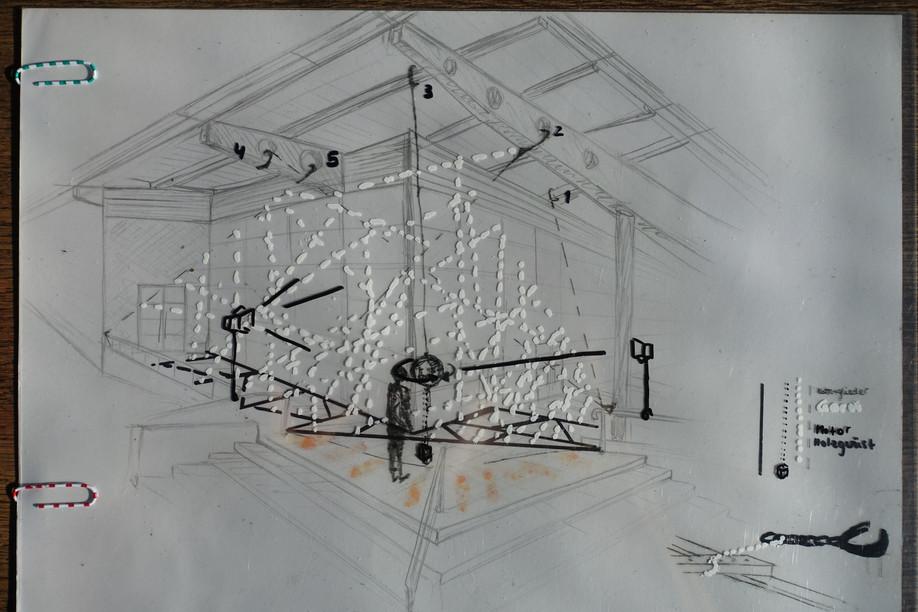Skizze zur Installation, 9x12mx3m, Stahlketten/Bauschgarn/rotierende Weltkugel mit Spiegeln