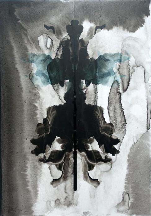 Gespenst I, 2015, 29,6x20,9cm,  Tusche, kaschiert auf Karton