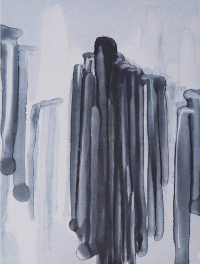 o. T., Auseinandersetzung zum Thema Erinnerung, 2017, Unikat, 40x30cm, Monotypie