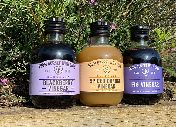 Fruit Vinegar Pack - Spiced Orange Vinegar, Fig Balsamic Vinegar and Blackberry