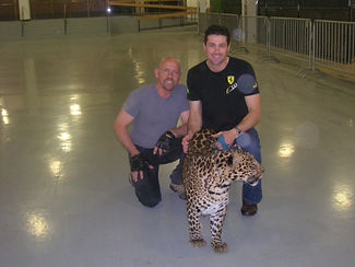 Steve Wiberg with Alex Lacey and Mowgli the leopard at Ringling Bros circus