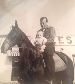 Steve at 1 month old on Skeeter with his Dad Roy