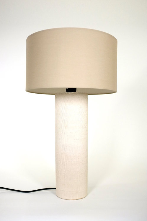 Large Tablelamp with a white Linen shape
