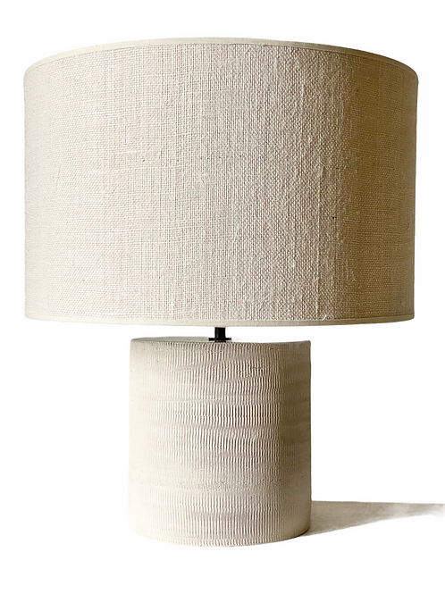 RAW LAMP with white lampshade linentexture