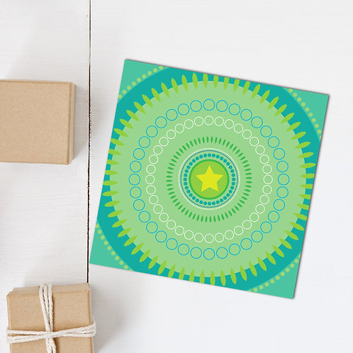 Cool Chillout Star Circles square card blank inside