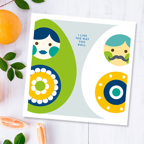 I Like the Way You Roll happy eggs all occasion square card blank inside