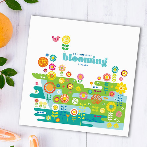 Blooming Lovely Flower Meadow square card