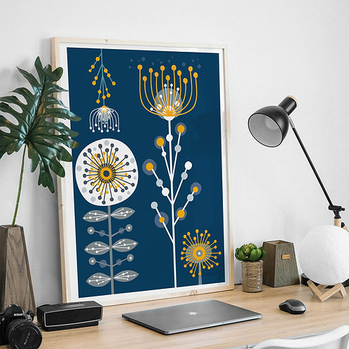 Print - Mimosa golden wattle teal still life giclee print - A5, A4 or A3