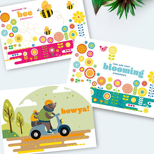 Positively Blooming Cheerful cards 3-pack all occasion cards blank inside
