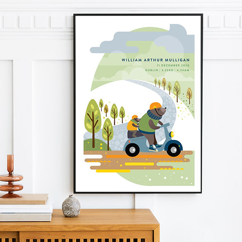 Print - personalised - Bears on moped birth print for a baby