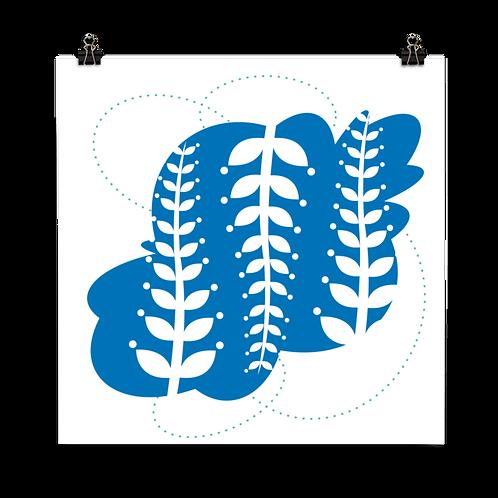 Seaweed Rockpool square card blank inside - cobalt blue ocean ripple