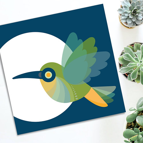 Everyday all occasion Hummingbird square card blank inside