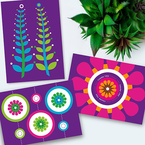 Purple cards 3-pack all occasion everyday cards blank inside