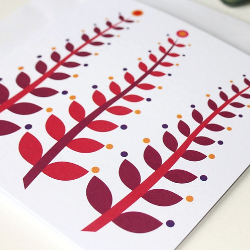 Square card all occasion Waving Leaves Cherry Pop blank inside