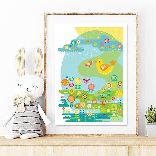 Original kids print - Blooming Flower Meadow Birds in pastel colours