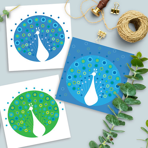 Peacock Blue Green 3-pack square card blank inside