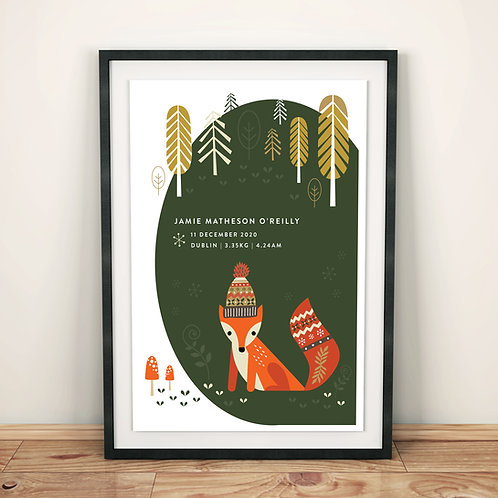 Print - personalised - woodland FOX in forest green birth print