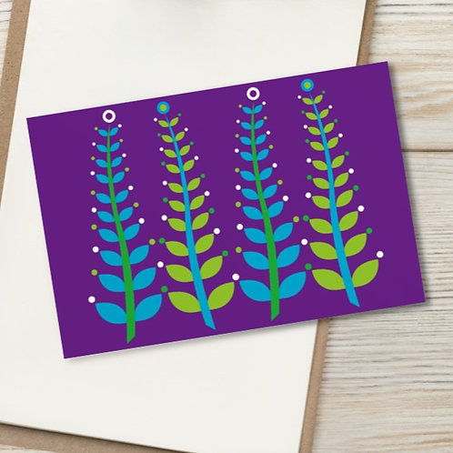 "Purple 4x6"" card Seaweed Ferns Purple Haze - blank inside - green, blue aqua"