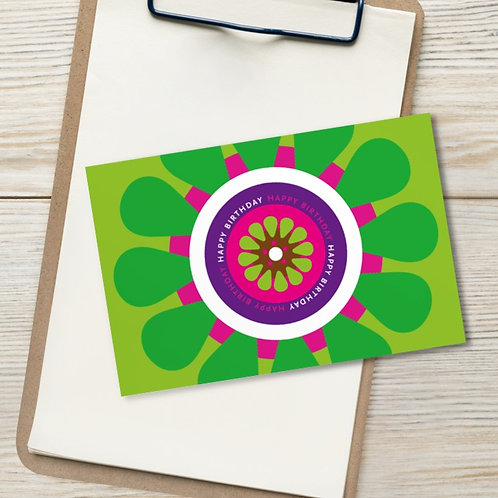 "Happy Birthday 4x6"" card - Green Gerbera Daisy - pink, purple, lime, white blank"