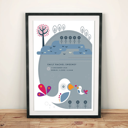 Print - personalised - Birds and lake in grey
