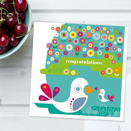 Birds Flower Meadow Congratulations square card