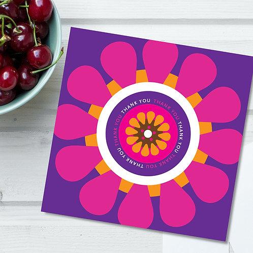 Thank You bright purple gerberas square card - blank inside