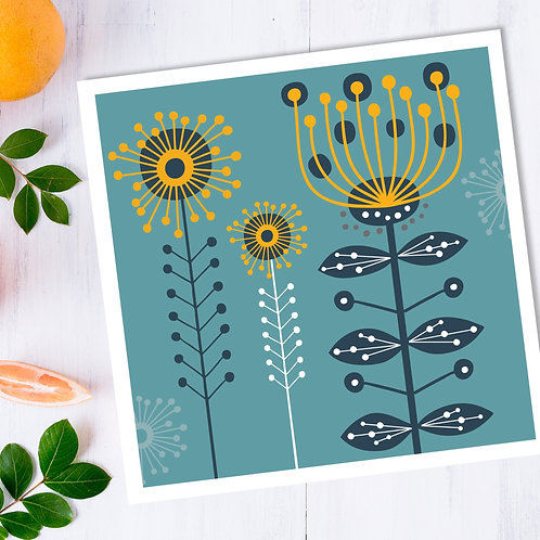 Wattle Mimosa Aqua - square all occasion blank card