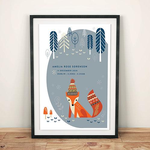 Print - personalised - woodland FOX in grey
