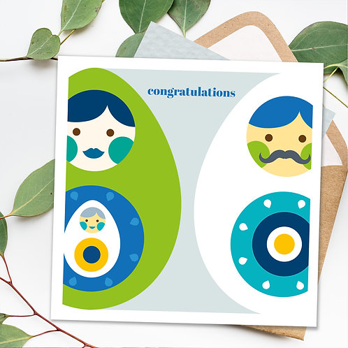 New baby or pregnancy card - happy eggs square card blank inside