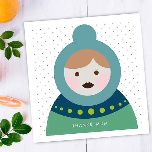 Mother's Day Thanks Mum square card - thank you card with Russian Babushka doll
