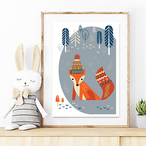 Original kids print - Winter fox in the woods DOVE GREY print
