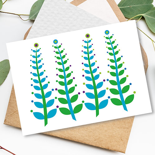 Seaweed Ferns White all occasion card