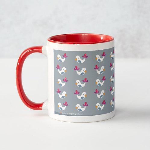 Winter Birds Grey Mug - red accents