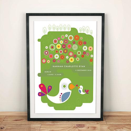 Print - personalised - Summer Meadow birth print
