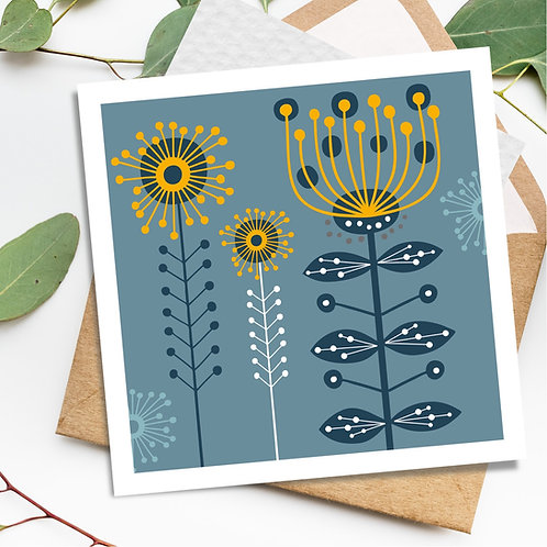 Wattle Mimosa Grey - square all occasion blank card