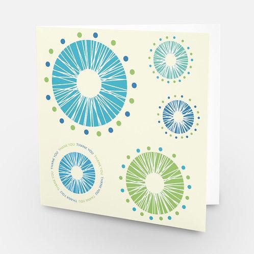 Thank You square card Puffball Dandelions - cream card