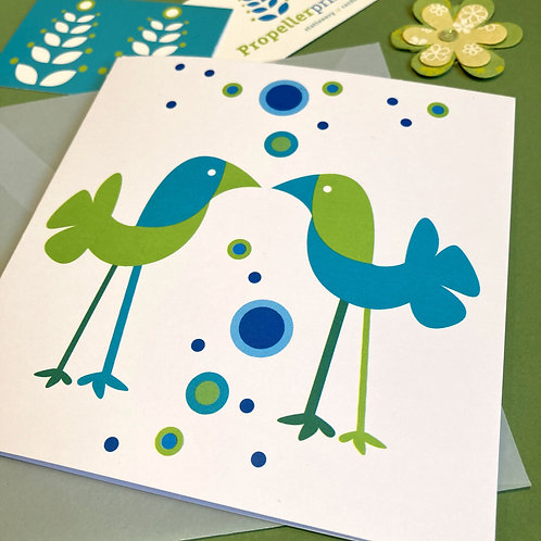 Square all occasion card Bubble Birds - blank inside