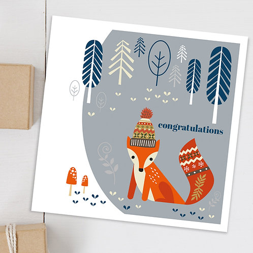 Grey fox Congratulations card - contemporary design blank inside