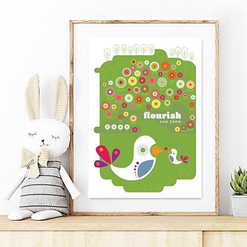 Original kids print - Summer Meadow Birds - Flourish & grow print