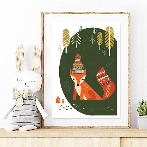 Original kids print - Winter fox in the woods DARK GREEN print