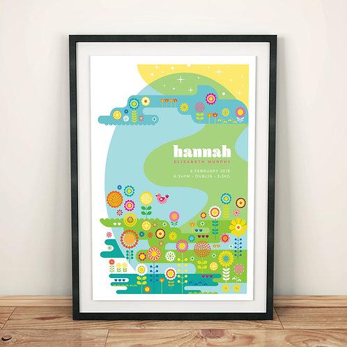 Print - personalised - Blooming Flower Meadow birth print