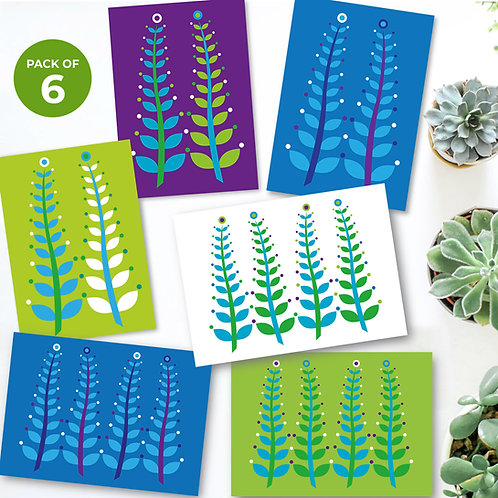 Waving Seaweed Super 6 Mix  6-pack green blue purple white cards