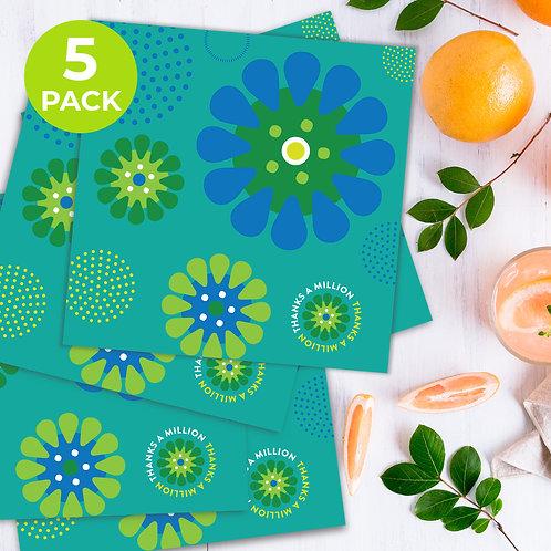 Thanks A Million Aqua Daisies  5-pack square cards
