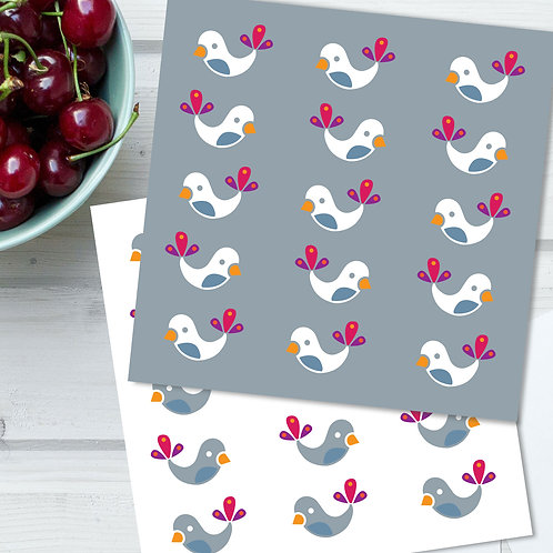 Winter Bird Babies all occasion cards 2-pack