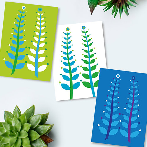 Seaweed Ferns 3-pack all occasion everyday cards blank inside