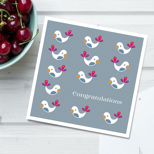Congratulations square card - baby birds in grey & white, perfect for a new baby